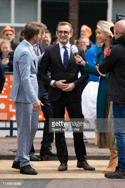 Prince PieterChristiaan and Prince Bernhard being interviewed by Dionne Stax during their visit to the city of Amersfoort to celebrate Kingsday on...