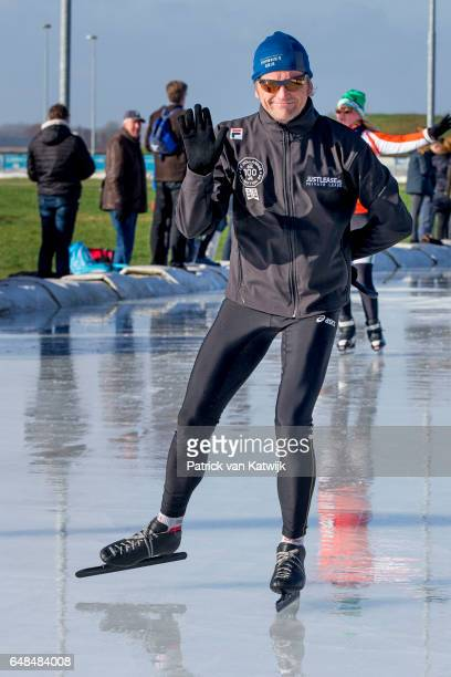 Prince PieterChristiaan of The Netherlands at the Hollandse 100 ice skating and cycling fund raising event at Flevonice on March 5 2017 in...