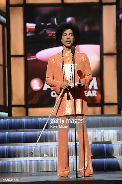 Prince presents award onstage during The 57th Annual GRAMMY Awards at the STAPLES Center on February 8 2015 in Los Angeles California