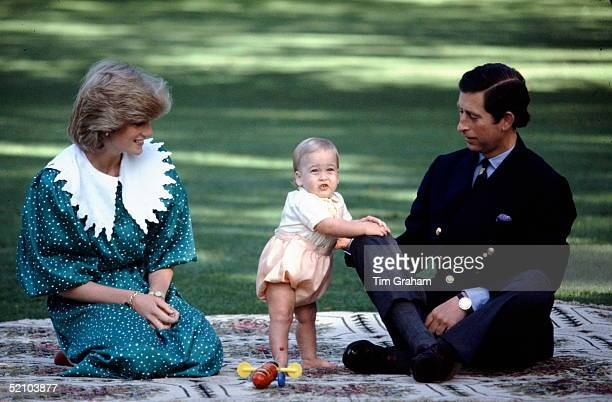 Prince Princess Of Wales With Their Baby Son Prince William During His First Official Photocall In The Gardens Of Government House