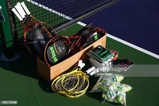 Prince rackets are seen whilst Taylor Townsend of USA attends a Prince kids clinic during day one of the BNP Paribas Open tennis at the Indian Wells...