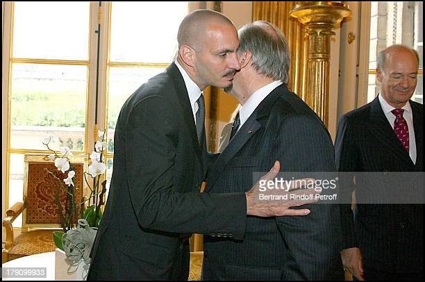 Prince Rahim Aga Khan with father Prince Karim Aga Khan and uncle Prince Amyn Aga Khan at Christine Albanel Presents The 'Grand Patron' And 'Grand...