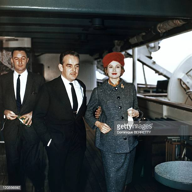 Prince Rainier and princess Grace in Cannes France on November 17 1956 Prince Rainier and Princess Grace after a trip to The United States on board...
