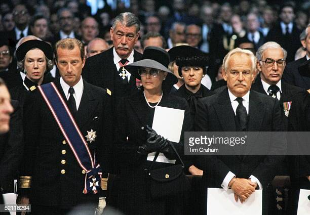 Prince Rainier And Princess Grace Of Monaco At The Funeral Of Lord Mountbatten