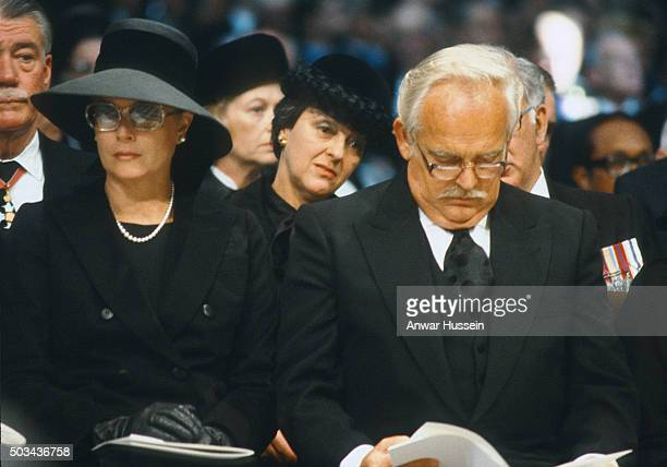 Prince Rainier and Princess Grace of Monaco attend the funeral of Lord Mountbatten on September 05 1979 in London England