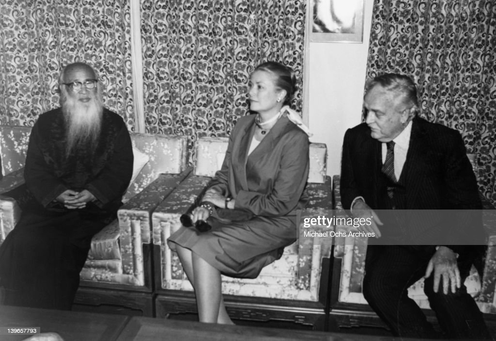 Prince Rainier and Princess Grace of Monaco chat with artist Chang Ta-chien (Chang Dai-chien) in June, 1982 in Taipei, Taiwan.
