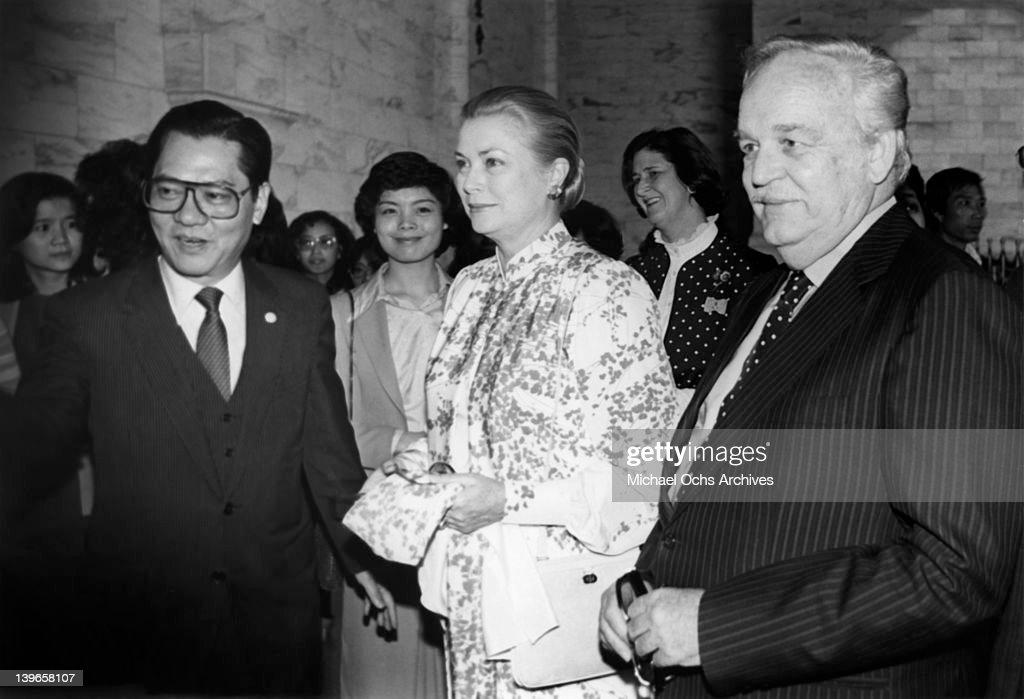 Prince Rainier and Princess Grace of Monaco visit the Chiang Kai-shek Memorial in June, 1982 in Taipei, Taiwan.