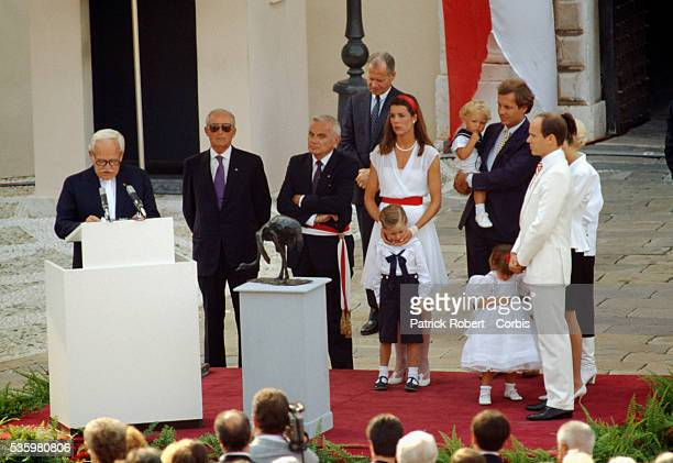 Prince Rainier III addresses a crowd outside the Palais du Prince during an anniversary celebration commemorating 40 years as ruler of Monaco...