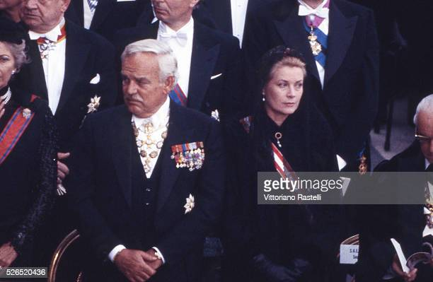 Prince Rainier III and Princess Grace of Monaco attend the funeral ceremony of Pope Paul VI in Vatican City