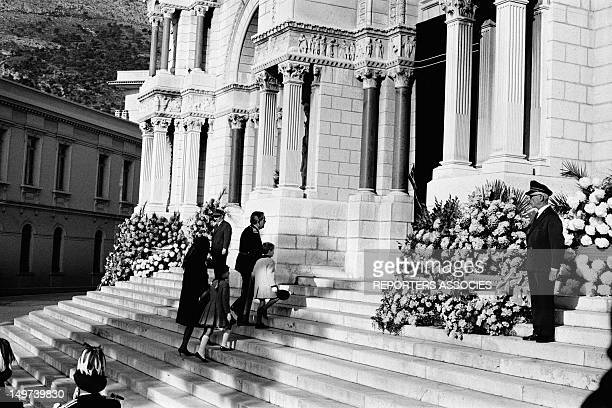 Prince Rainier III of Monaco and his wife Princess Grace of Monaco with their children at the funeral of Prince Pierre of Monaco on November 17 1964...