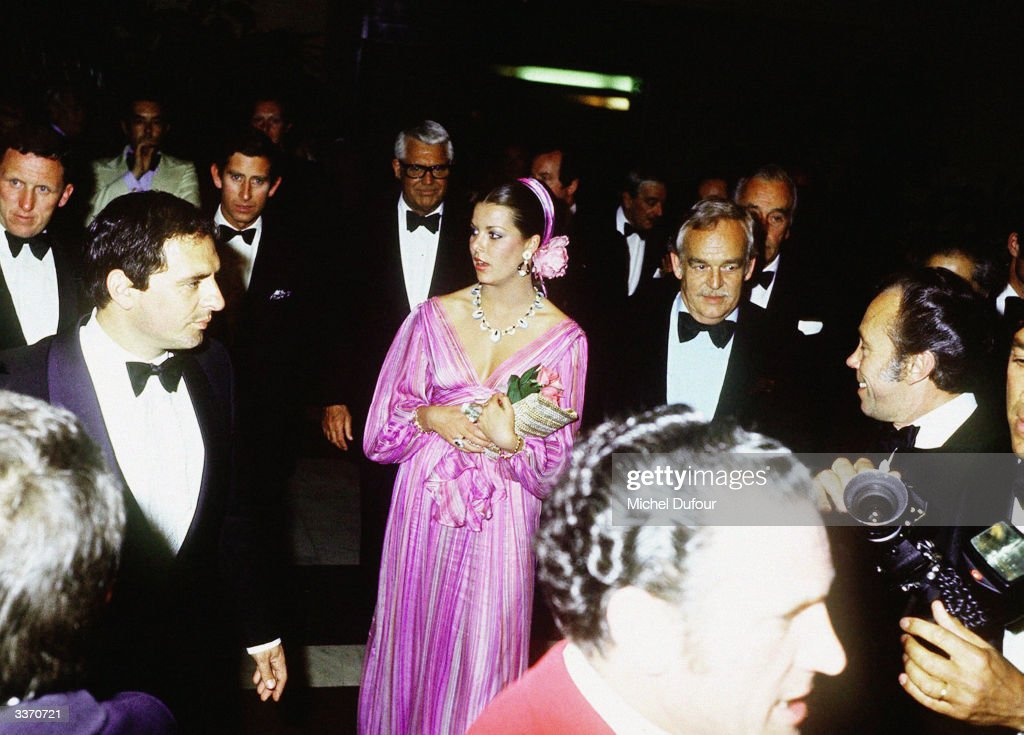 Prince Rainier III of Monaco (centre, right) hosting Prince Charles with Princess Caroline, and film actor Cary Grant outside the 'Hotel de Paris' in 1983, in Paris, France.