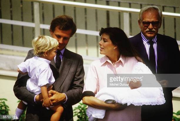 Prince Rainier III of Monaco poses for the birth of Princess Caroline's baby Charlotte Casiraghi as Stefano Casiraghi with son Andrea also stand...