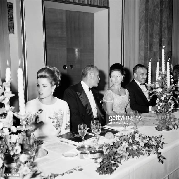 Prince Rainier III of Monaco Princess Grace of Monaco and AlpesMaritimes prefect PierreJean Moatti attend a diner in honor of Princess Margaret at...