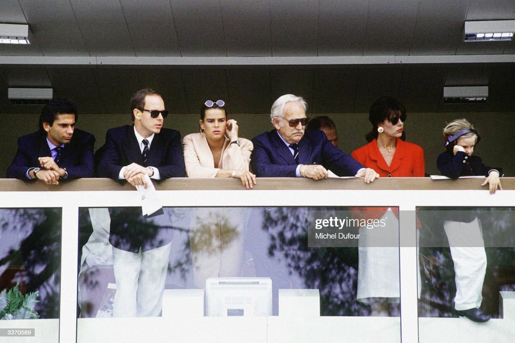 Prince Rainier III of Monaco with children Prince Albert, Princess Stephanie, Princess Caroline and her son Andrea at the Monaco Formula One Grand Prix on May 27, 1990 in Monte Carlo, Monaco.