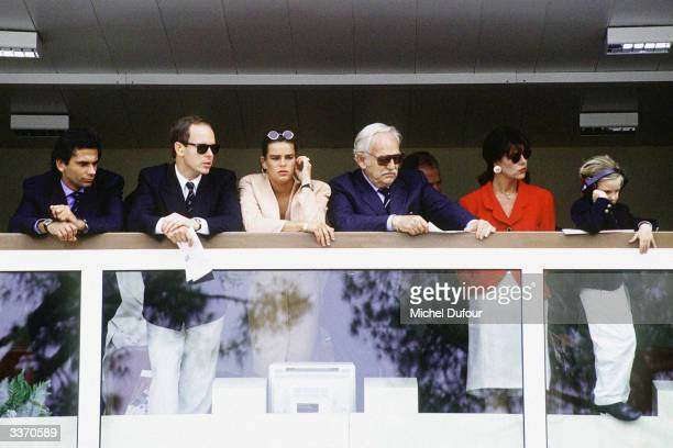 Prince Rainier III of Monaco with children Prince Albert Princess Stephanie Princess Caroline and her son Andrea at the Monaco Formula One Grand Prix...