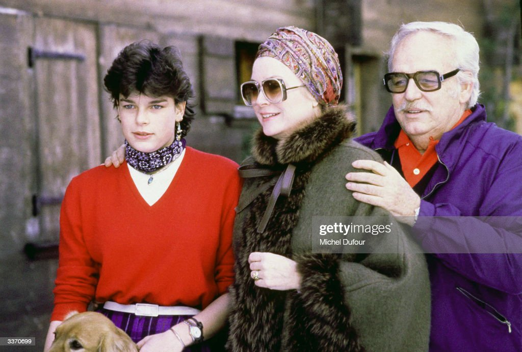 Prince Rainier III of Monaco with daughter Princess Stephanie and wife Princess Grace Kelly at Schonried, in 1979 in Gstaad, Switzerland.