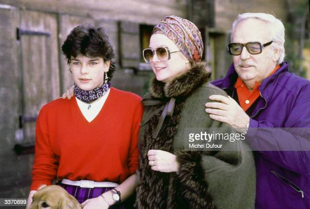 Prince Rainier III of Monaco with daughter Princess Stephanie and wife Princess Grace Kelly at Schonried in 1979 in Gstaad Switzerland