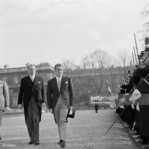 Prince Rainier Iii Of Monaco With French President Rene Coty Inspected The Honor Guard At The Palais De L'Elysee On December 02Nd 1954