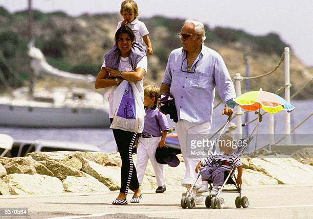 Prince Rainier III of Monaco with his daughter Princess Caroline and her children on holiday in 1988 in Sardegna Sardinia Italy