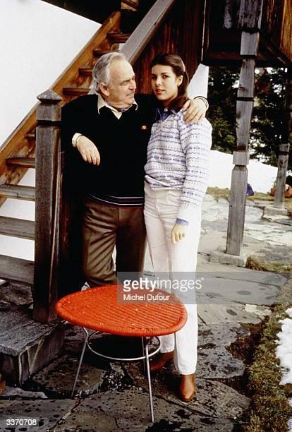 Prince Rainier III of Monaco with Princess Caroline at Schonried in 1980 in Gstaad Switzerland