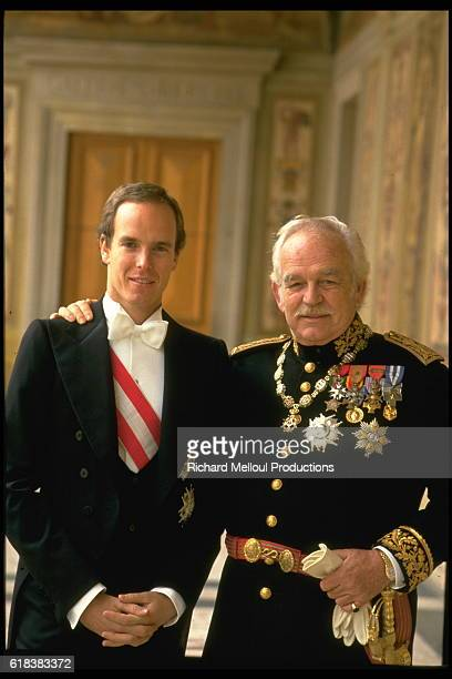 Prince Rainier in full regalia, with his son Prince Albert.