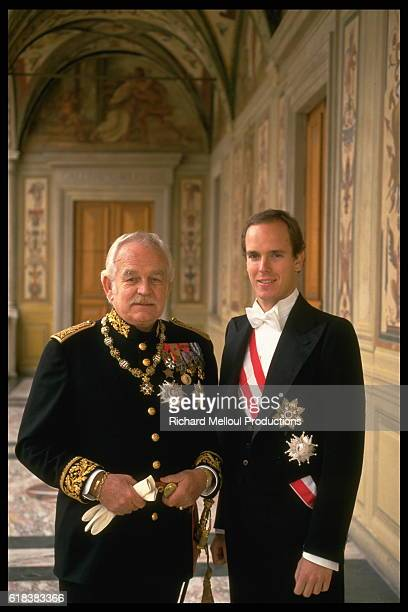 Prince Rainier in uniform with his son Prince Albert.