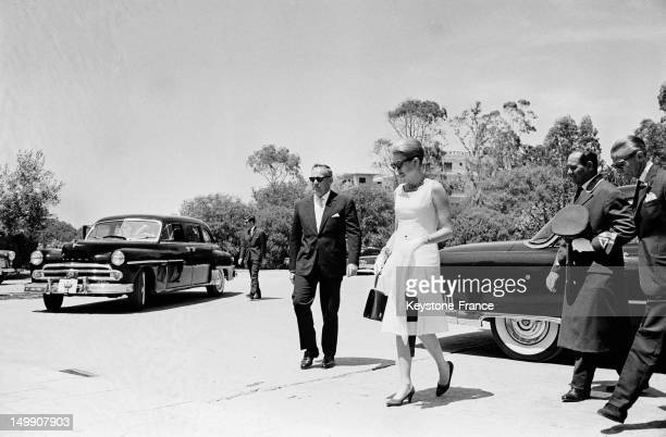 Prince Rainier of Monaco and Princess Grace arriving in Athens to attend the wedding of Sophie of Greece with Don Juan Carlos on May 14, 1962 in...