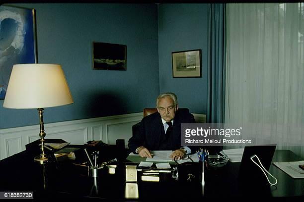 Prince Rainier of Monaco at his desk
