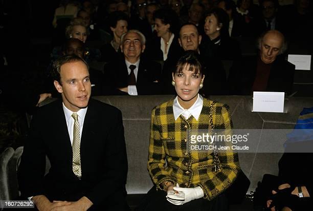 Prince Rainier Of Monaco Awarded The Medal Of Patronage Of The Francophonie Paris 15 décembre 1988 A l'Académie française lors de la cérémonie de...