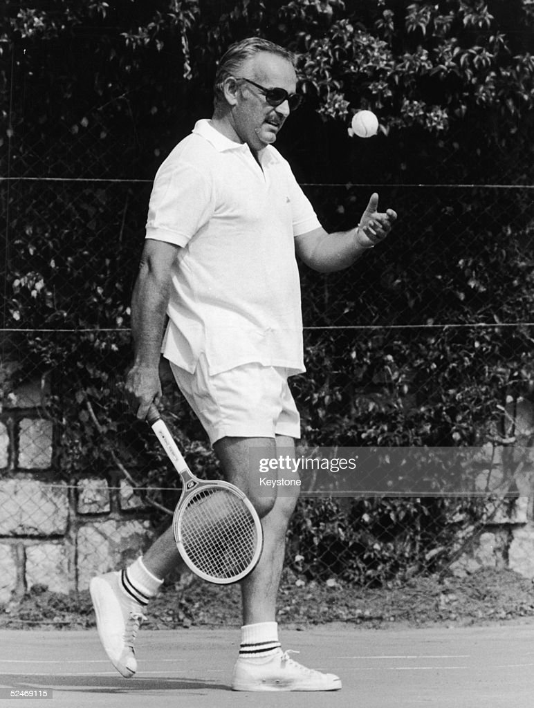 Prince Rainier of Monaco indulges in a spot of tennis in Monte Carlo, September 1968.