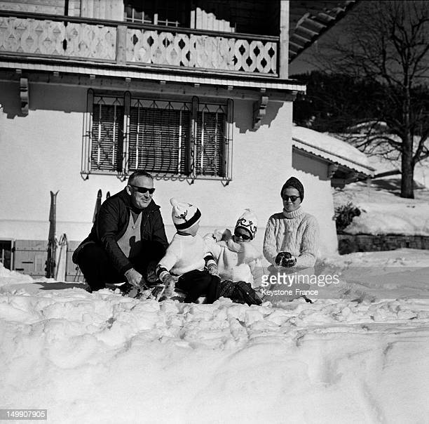 Prince Rainier of Monaco with wife Princess Grace spending winter holidays with children Princess Caroline and Prince Albert Villars February 8 1963