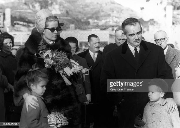 Prince Rainier Princess Grace Prince Albert And Princess Caroline At The Opening Act Of The KartClub Of Monaco On November 19Th 1962