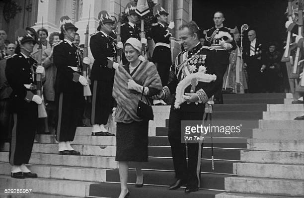 Prince Rainier with Princess Grace coming out of church in Monte Carlo; 1960's;.