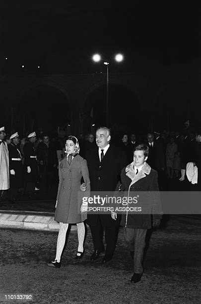 Prince RainierCaroline and Albert of Monaco with family at the traditional religious festival ste devote in the 1970s