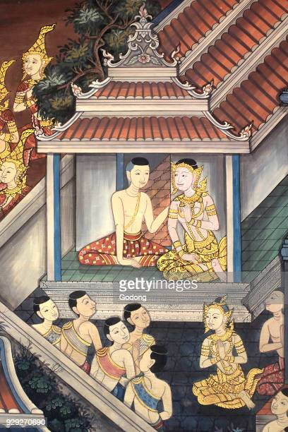 Prince Rama and Sita Mural detail on inner walls of the Vihara from the era of king Rama III depicting the Ramakian Wat Pho Wat Phra Chettuphon 1788...