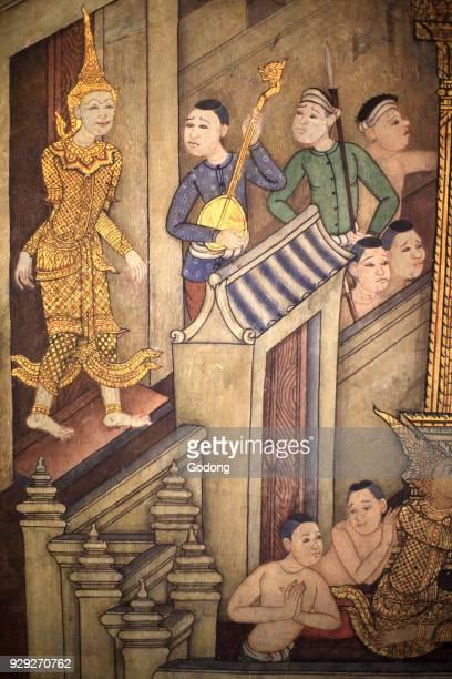 Prince Rama Mural detail on inner walls of the Vihara from the era of king Rama III depicting the Ramakian Wat Pho Wat Phra Chettuphon 1788 Bangkok...