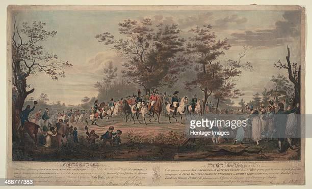 Prince Regent William III of Prussia Alexander I General Blücher and Hetman Platov review troops Artist Sauerweid Alexander Ivanovich