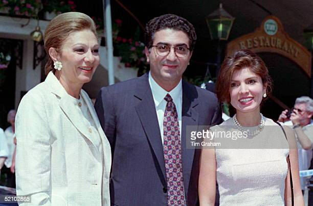 Prince Reza Pahlavi Shah II And His Wife Yasmine And Mother Empress Farah Diba Pahlavi Arriving To Have Lunch With The Danish Royals On Their Yacht...