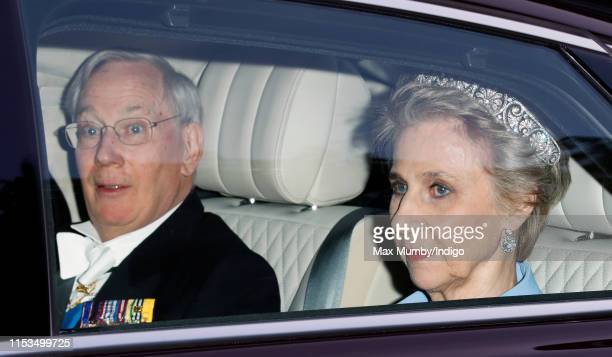 Prince Richard, Duke of Gloucester and Birgitte, Duchess of Gloucester depart Kensington Palace to attend a State Banquet at Buckingham Palace on day...