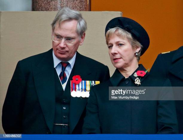 Prince Richard, Duke of Gloucester and Birgitte, Duchess of Gloucester attend the annual Remembrance Sunday service at The Cenotaph on November 09,...