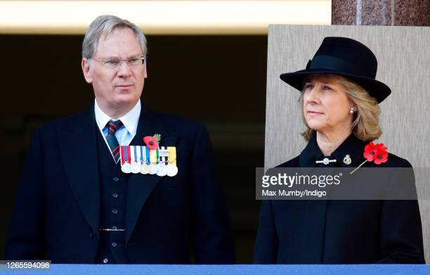 Prince Richard, Duke of Gloucester and Birgitte, Duchess of Gloucester attend the annual Remembrance Sunday service at The Cenotaph on November 11,...