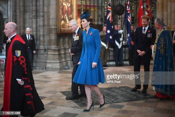 Prince Richard Duke of Gloucester and Catherine Duchess of Cambridge attend the ANZAC Day Service of Commemoration and Thanksgiving at Westminster...