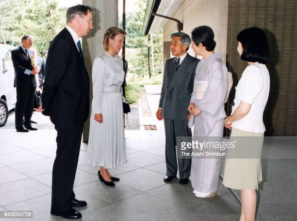 Prince Richard Duke of Gloucester and his wife Birgitte van Deurs are welcomed by Emperor Akihito Empress Michiko and Princess Sayako prior to their...