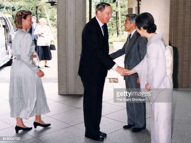 Prince Richard Duke of Gloucester and his wife Birgitte van Deurs are welcomed by Emperor Akihito and Empress Michiko prior to their tea party at the...