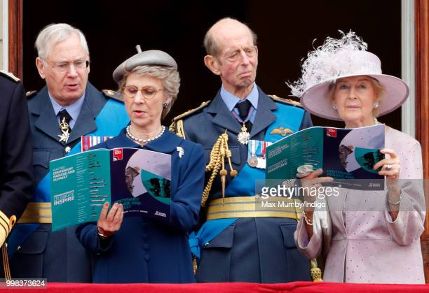 Prince Richard, Duke of Gloucester, Birgitte, Duchess of Gloucester, Prince Edward, Duke of Kent and Princess Alexandra watch a flypast to mark the...
