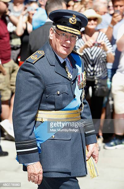 Prince Richard, Duke of Gloucester leaves the RAF Club after attending a reception to commemorate the 75th Anniversary of The Battle of Britain on...