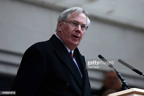 Prince Richard Duke of Gloucester makes a speech during the unveiling ceremony of London's first public memorial to the Korean War on December 3 2014...