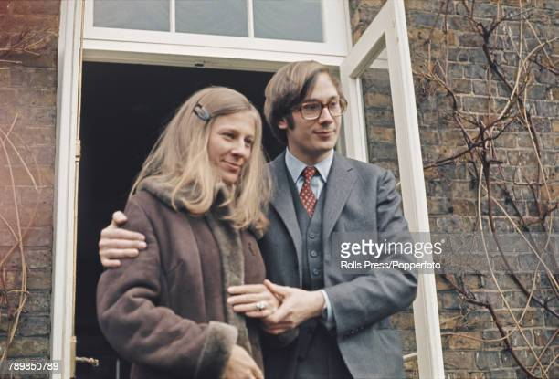 Prince Richard, Duke of Gloucester pictured with Birgitte van Deurs as they meet the press after announcing their engagement in February 1972.