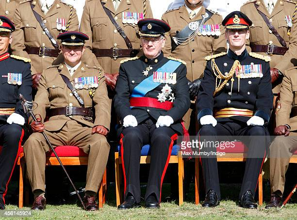 Prince Richard Duke of Gloucester poses for a regimental photograph with the 23 Pioneer Regiment RLC after their Disbandment Parade at St David's...