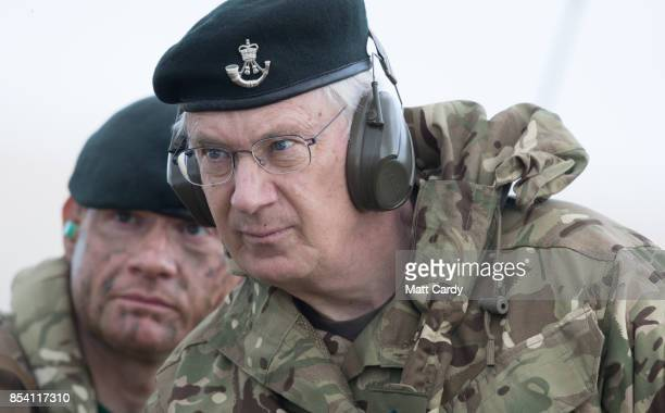 Prince Richard, The Duke of Gloucester watches a live firing exercise by soldiers from 6 RIFLES on the range at Okehampton Camp, Dartmoor, during the...